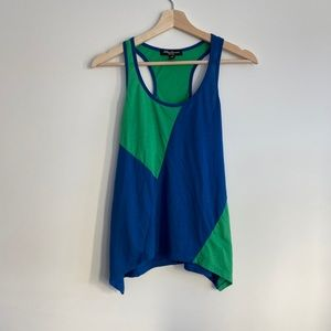 Color block Racerback Tank / Blue and Green